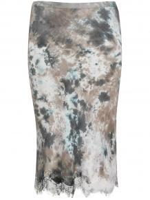 атласная юбка с кружевным подолом и принтом тай-дай GOLD HAWK 151341018883