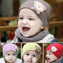 Bluelans Boy's Girl's Baby Children Winter Cap Dot Bear Cotton Blended Warm Beanie Hat