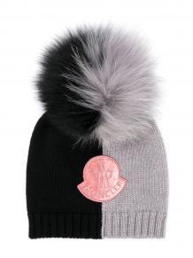 двухцветная шапка бини с логотипом Moncler Enfant 1455359977