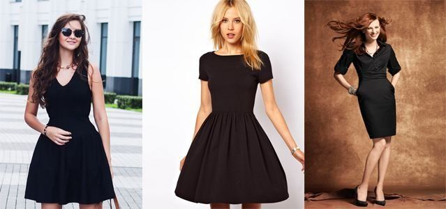 черное платье до колена фото