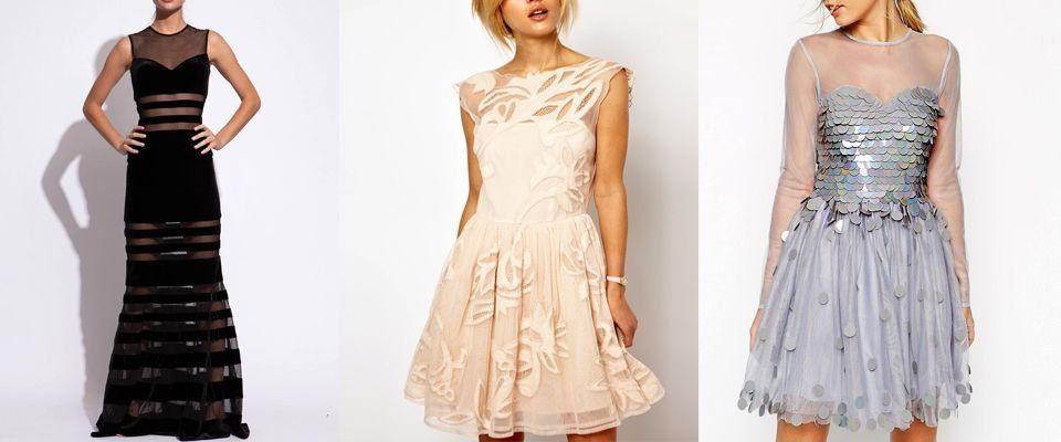 Платье сверху с прозрачной тканью