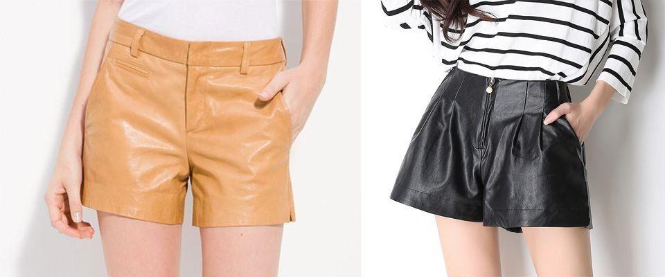 кожаные женские шорты фото