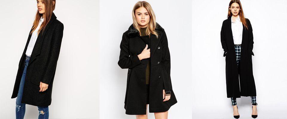 черные женские пальто фото