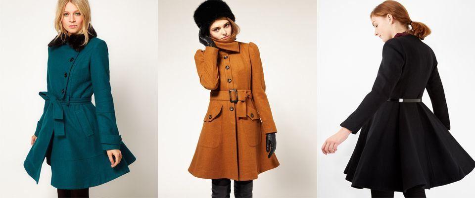 Приталенное пальто с расклешенной юбкой