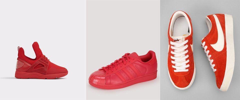 красные женские кроссовки и кеды фото