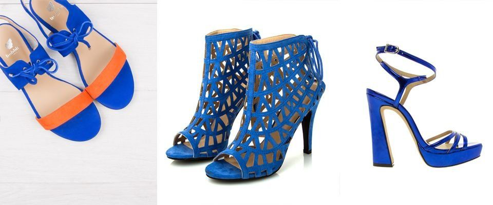 синие женские босоножки фото