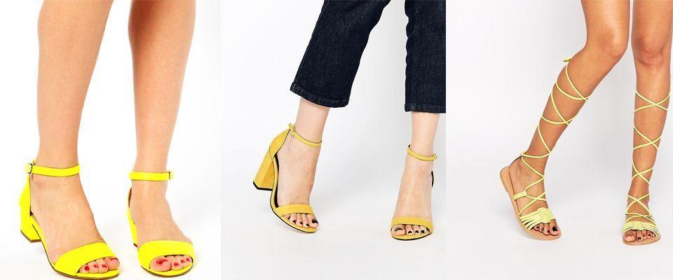 желтые женские босоножки фото