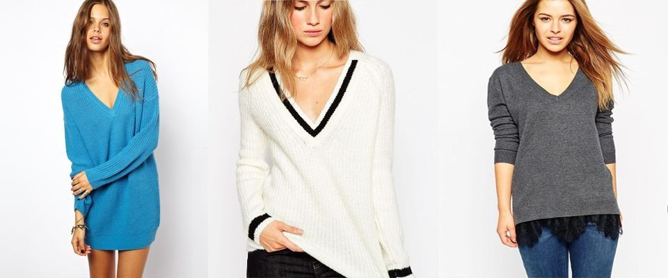 пуловер с v образным вырезом фото